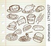 junk food doodle | Shutterstock . vector #179124227