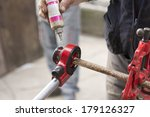 lubrication on rusty pipe  | Shutterstock . vector #179126327
