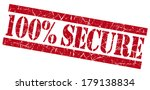100  secure red grunge stamp | Shutterstock . vector #179138834