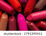Closeup Of Lipsticks With Wate...