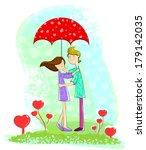 love couple standing under... | Shutterstock .eps vector #179142035