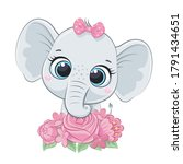 Cute Summer Baby Elephant With...
