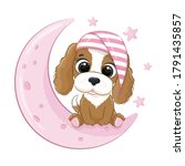 cute baby dog sitting on the... | Shutterstock .eps vector #1791435857