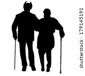 vector silhouette of old people ... | Shutterstock .eps vector #179145191