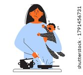 frustrated parent concept.... | Shutterstock .eps vector #1791456731