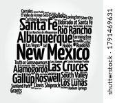 list of cities in new mexico... | Shutterstock .eps vector #1791469631