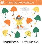 find two same umbrellas. autumn ... | Shutterstock .eps vector #1791485564