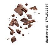 Milk chocolate pieces falling...
