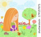 girl on the nature | Shutterstock . vector #179157071