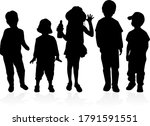silhouette of children on white ... | Shutterstock . vector #1791591551