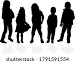 silhouette of children on white ... | Shutterstock . vector #1791591554