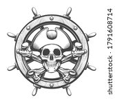 pirate skull with crossed bines ... | Shutterstock .eps vector #1791608714