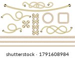 set of nautical ropes. twisted... | Shutterstock .eps vector #1791608984