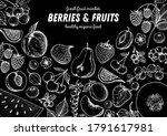 berries and fruits sketch... | Shutterstock .eps vector #1791617981