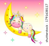 a small unicorn with a... | Shutterstock .eps vector #1791638117