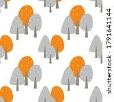 seamless pattern of autumn trees   Shutterstock . vector #1791641144