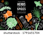herbs and spices hand drawn... | Shutterstock .eps vector #1791651704