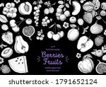 berries and fruits drawing... | Shutterstock .eps vector #1791652124