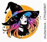 beautiful witch in a classic hat and coloured hair