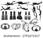set of diving equipment.... | Shutterstock .eps vector #1791671417