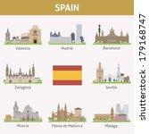 spain. symbols of cities.... | Shutterstock .eps vector #179168747