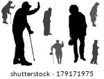 vector silhouette of old people ... | Shutterstock .eps vector #179171975