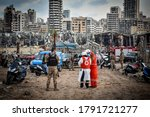 Small photo of A view of the port after the explosion on August 4, 2020 in Beirut, Lebanon. According to the Lebanese Red Cross, at the moment over 100 people died in the explosion.
