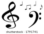 black musical notes | Shutterstock . vector #1791741