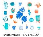 large set with watercolor... | Shutterstock . vector #1791782654