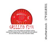 grilled fish logo for seafood | Shutterstock .eps vector #1791818501