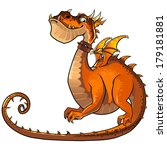 Funny Orange Dragon Cartoon...