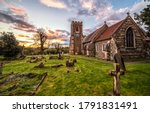 Rural old cemetery church in...