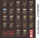 vector illustration with coffee ... | Shutterstock .eps vector #179185085