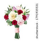 vector bouquet of red  pink and ... | Shutterstock .eps vector #1791935531