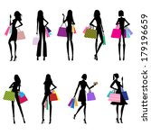 women shopping silhouettes with ... | Shutterstock .eps vector #179196659