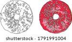 sweet donut sprinkled with...   Shutterstock .eps vector #1791991004