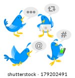 Blue bird socializing on laptop and phone. - stock vector