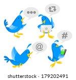 blue bird socializing on laptop ... | Shutterstock .eps vector #179202491