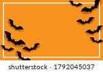 happy halloween on orange... | Shutterstock .eps vector #1792045037