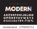 modern art alphabet and number... | Shutterstock .eps vector #1792052711