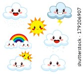 collection of cute cartoon... | Shutterstock .eps vector #179206907