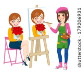beautiful artist woman painting ... | Shutterstock .eps vector #179206931