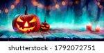 jack o  lanterns in spooky... | Shutterstock . vector #1792072751
