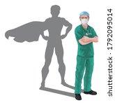 nurse or doctor super hero in... | Shutterstock . vector #1792095014