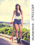 beautiful hipster girl with... | Shutterstock . vector #179211269