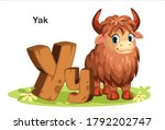 Wooden textured bold font alphabet Y, Y for Yak