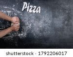 chef making dough for pizza on...   Shutterstock . vector #1792206017