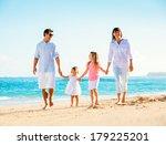 happy family having fun walking ... | Shutterstock . vector #179225201