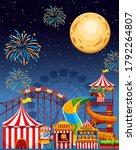 Amusement Park Scene At Night...