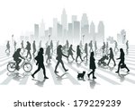 walking people in city | Shutterstock .eps vector #179229239
